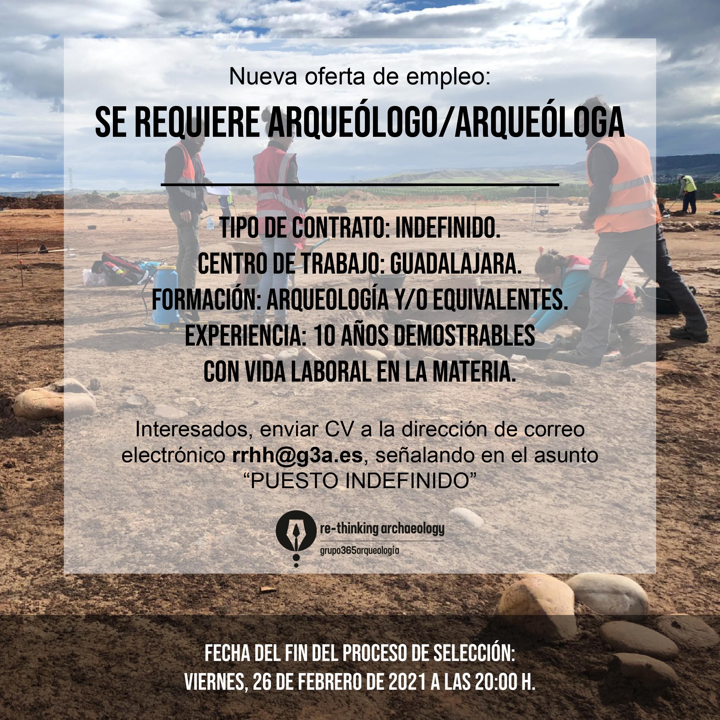Oferta de trabajo Arqueólog@